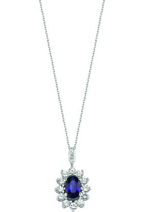 Valentine Diamond Pırlantalı Safirli Kolye - Big Classic-P