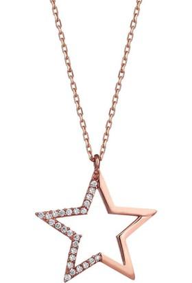 Dalman Silver Modern Taşlı Yıldız Gümüş Kolye