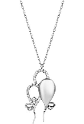 Dalman Silver Taşlı Balonlar Rose Gümüş Kolye