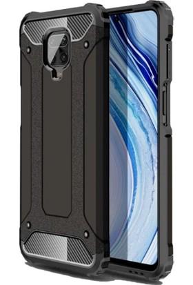 Case 4U Xiaomi Redmi Note 9S / Note 9 Pro Kılıf Çift Katmanlı Zırh Koruma Tank Crash Arka Kapak + Cam Ekran Koruyucu Siyah