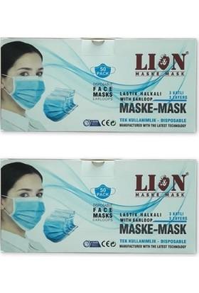 Lion Burun Telli Tek Kullanımlık Ultrasonik 3 Katlı Cerrahi Maske 50 Adet - 2'li + Maske Takma Aparatı
