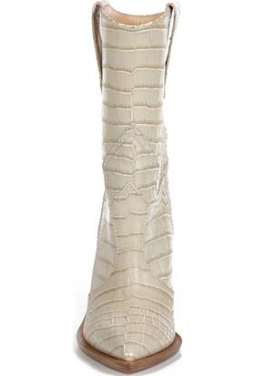 Sofia Baldi Gelsomıno Bej Kroko Kadın Topuklu Çizme