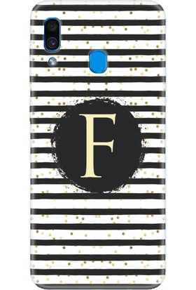 Moodcase Samsun Galaxy A30 Puantiye Desen F Harfli Telefon Kılıfı