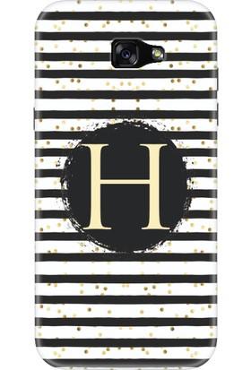 Moodcase Samsun Galaxy A7 2017 Puantiye Desen H Harfli Telefon Kılıfı