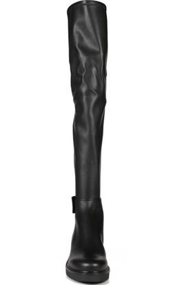Sofia Baldi Egesta Fur Siyah Deri Streç Kadın Diz Üstü Çizme