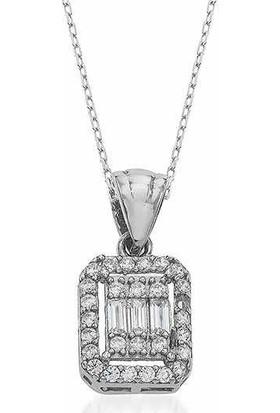 Gümüş Marketi 925 Baget Zirkon Taşlı Gümüş Bayan Kolye