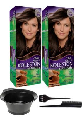 Wella 2'li Koleston Naturals 4/0 Kahve Kalıcı Krem Saç Boyası ve Saç Boyama Seti