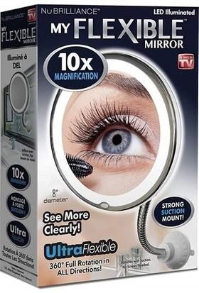 Genx Esnek Halka Işıklı Çerçeveli Flexible 10X Zoom Ayarlanabilir Makyaj Aynası