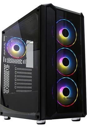 Rampage Hardy Temper Camlı 600W 80 Plus Bronze Siyah 4 Adet Rainbow Fanlı Gaming Oyuncu Kasası