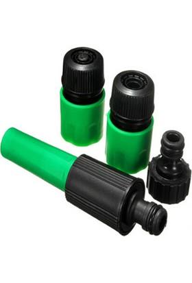 Plasyay Ayarlı Fıskiye ve Hortum Bağlantı Aparatları 4 Lü Yeşil