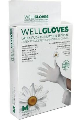 WellGloves Lateks Pudralı Eldiven Beyaz 20'li