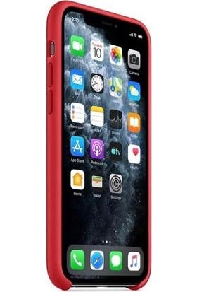 Rosstech Apple iPhone 11 Pro Lansman Silikon Kılıf Kırmızı + Ekran Koruyucu