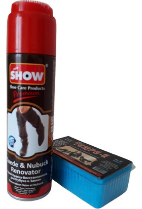 Show Süet Nubuk Sprey 250 ml Kahverengi Ve Temizleme Süngeri