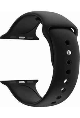 Axel Apple Watch 5/4/3/2/1 Serisi 38 mm ve 40 mm Silikon Kordon Kayış Siyah