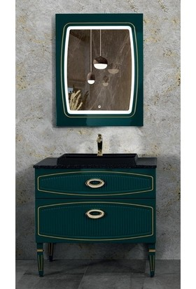 Lineart Dore 110 cm Banyo Dolabı Yeşil Altın