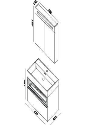 Lineart Sharp 80 cm + Boy Dolabı Cadiz