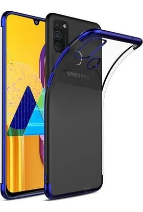 Tbkcase Samsung Galaxy A31 Kılıf Lüks Lazer Silikon Mavi + Nano Ekran Koruyucu