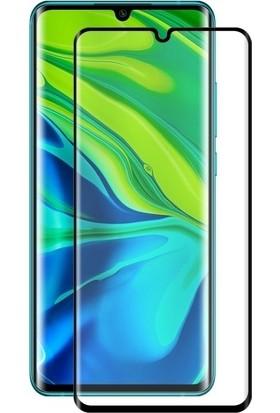 Tbkcase Xiaomi Mi Note 10 Lite Kılıf Deri Dokulu Silikon Siyah + Tam Kapatan Ekran Koruyucu