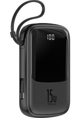 Baseus PPQD-A01 Q Pow 10000 mAh LCD Display 3A. 2 x USB + Pd Powerbank (Type-C Kablolu)