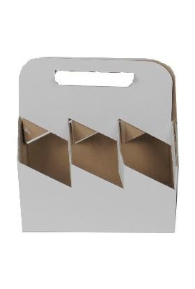 Unipak Beyaz 6'lı Şişe Kutusu 21,6×14,8×16 cm 25'li