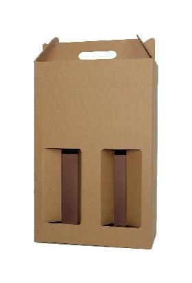 Unipak Kraft 2'li Şişe Kutusu 10,3×20,3×35,5 cm 25'li