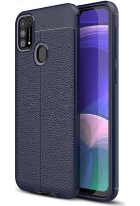 Gpack Samsung Galaxy M31 Kılıf Niss Silikon Deri Görünümlü + Nano Glass Lacivert