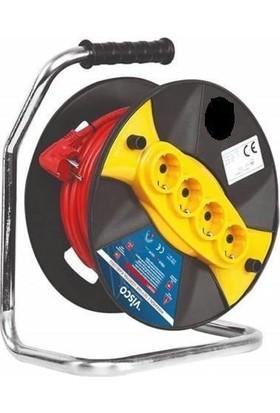 Visco Seyyar Makaralı Uzatma Kablosu 3X2,5 50 m Kaynak Makinası Çalıştırır