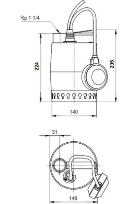 Grundfos Unılıft Kp350-A-1 1X220-240V 50Hz 10Msch