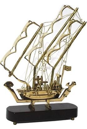 Alsepete AVM Futuristik Pirinç Yelkenli Gemi 30 cm