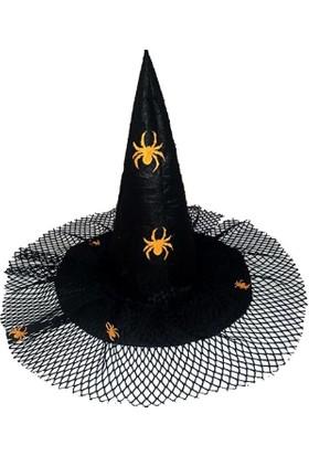 Kostümce Tüllü Örümcek Figürlü Halloween Cadı Şapkası Çocuk