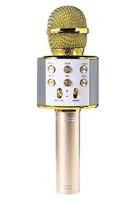 Asonic AS-M09 Bt-Aux-Usb-Tf Card Destekli Karaoke Mikrofon - Gold