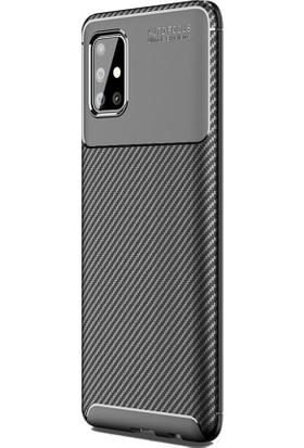 Teleplus Samsung Galaxy A31 Kılıf Negro Karbon Silikon Siyah