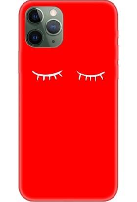 Casethrone Apple iPhone 11 Pro Kırmızı İçi Kadife Silikon Telefon Kılıfı Kr02 Kirpik