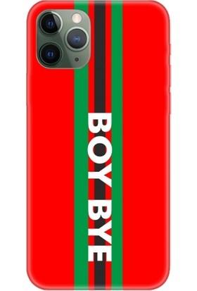 Casethrone Apple iPhone 11 Pro Kırmızı İçi Kadife Silikon Telefon Kılıfı Kr25 Boybyedikey