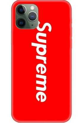 Casethrone Apple iPhone 11 Pro Max Kırmızı İçi Kadife Silikon Telefon Kılıfı Kr39 Supreme