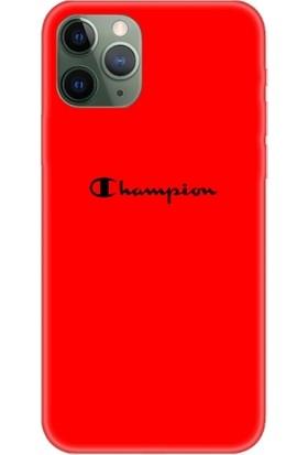 Casethrone Apple iPhone 11 Pro Max Kırmızı İçi Kadife Silikon Telefon Kılıfı Kr63 Champions