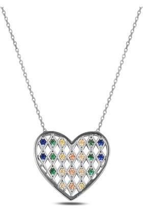 Bakalcik Gümüş 925 Ayar Rodyum Kaplama Renkli Zirkon Taş Işlemeli Kalp Kolye
