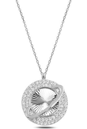 Bakalcik Gümüş 925 Ayar Rodyum Kaplama Zirkon Taş Işlemeli Satürn Kolye