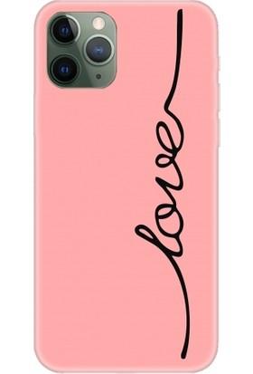 Casethrone Apple iPhone 11 Pro Max Pembe İçi Kadife Silikon Telefon Kılıfı Pmb12 Love