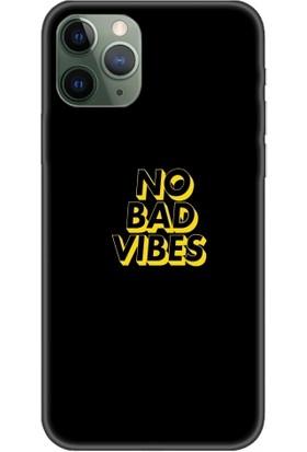 Casethrone Apple iPhone 11 Pro Max Siyah İçi Kadife Silikon Telefon Kılıfı Sb59 No Bad Vibes