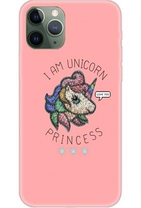 Casethrone Apple iPhone 11 Pro Pembe İçi Kadife Silikon Telefon Kılıfı Pmb68 Unicorn