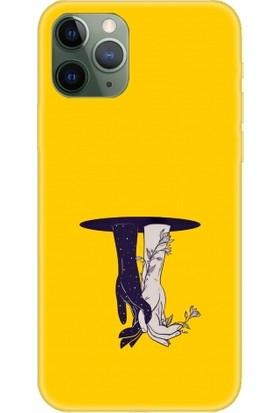 Casethrone Apple iPhone 11 Pro Sarı İçi Kadife Silikon Telefon Kılıfı Sr28Bitmeyensevda