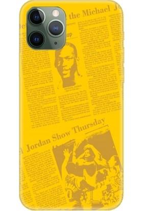 Casethrone Apple iPhone 11 Pro Sarı İçi Kadife Silikon Telefon Kılıfı Sr38 Jordan Gazete