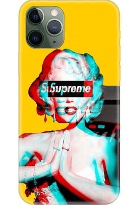 Casethrone Apple iPhone 11 Pro Sarı İçi Kadife Silikon Telefon Kılıfı Sr53 Marilyn Monroe
