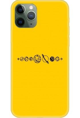 Casethrone Apple iPhone 11 Pro Sarı İçi Kadife Silikon Telefon Kılıfı Sr59 Ufak Gezegenler