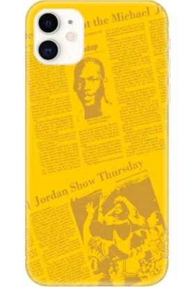 Casethrone Apple iPhone 11 Sarı İçi Kadife Silikon Telefon Kılıfı Sr38 Jordan Gazete