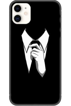 Casethrone Apple iPhone 11 Siyah İçi Kadife Silikon Telefon Kılıfı Sb30 Kravatlı