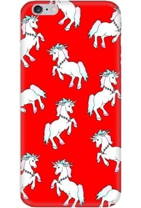 Casethrone Apple iPhone 6 / 6S Kırmızı İçi Kadife Silikon Telefon Kılıfı Kr16 Unıcornlar