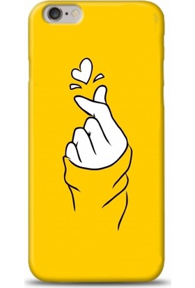 Casethrone Apple iPhone 6 Plus / 6S Plus Sarı İçi Kadife Silikon Telefon Kılıfı Sr57 Kalp