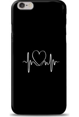 Casethrone Apple iPhone 6 Plus / 6S Plus Siyah İçi Kadife Silikon Telefon Kılıfı Sb21 Kalbimin Ritmi